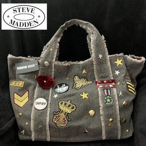 """STEVE MADDEN """"BGRADY"""" CHARCOAL CANVAS w/PATCHES"""